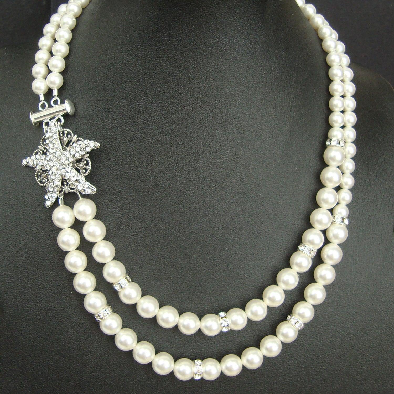 Starfish Bridal Necklace Pearl Wedding Necklace Vintage