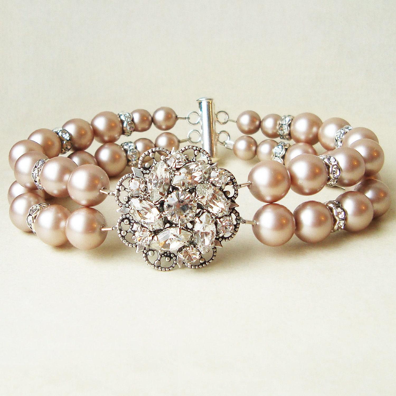 Champagne Pearl Bridal Wedding Bracelet Vintage Style