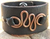 Distressed Black Leather Wrist Cuff  with Hammered Copper Accent - Upcycled - Small
