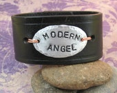 MODERN ANGEL - Distressed Leather Wrist Cuff  with Hammered Medallion - Upcycled - Medium