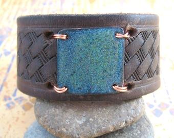 Dark Brown Leather Wrist Belt with Copper Enamel - Medium