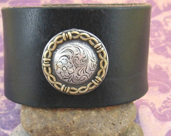 Distressed Black Leather Wrist Belt with Concho - Upcycled - Medium