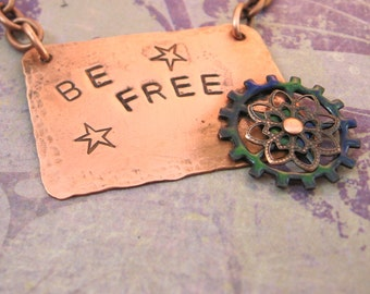 Be Free - Hammered Copper with Enameled Gear Necklace