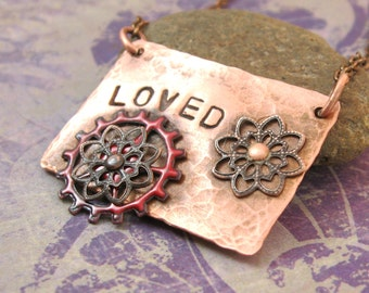 Loved - Hammered Copper with Enameled Gear Necklace