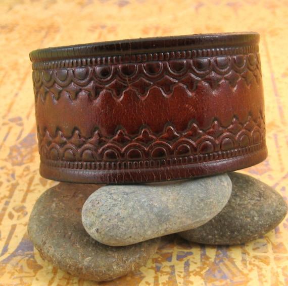 Decorative Brown Leather Wrist Cuff - Upcycled - Medium