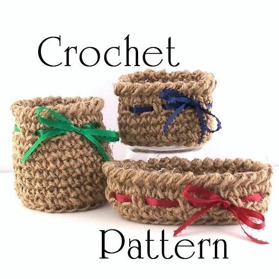 Pattern Crochet Twine Mini Baskets Trio Round Square And