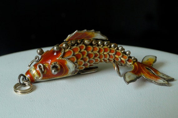Vintage chinese silver articulated enamel koi fish pendant for Silver koi fish
