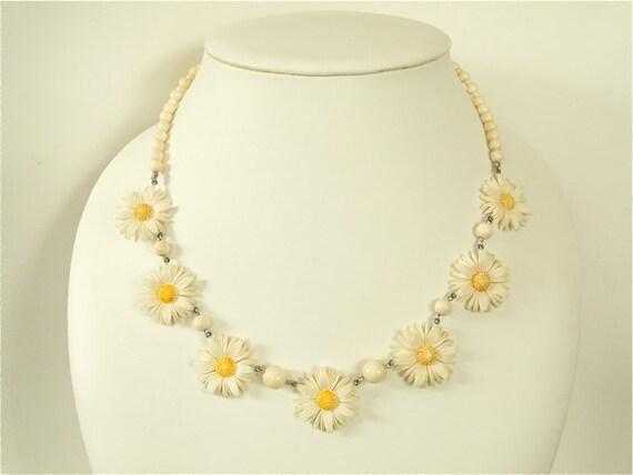 SALE Art Deco Necklace. Vintage daisy chain . Faux Ivory celluloid. Earrings set.
