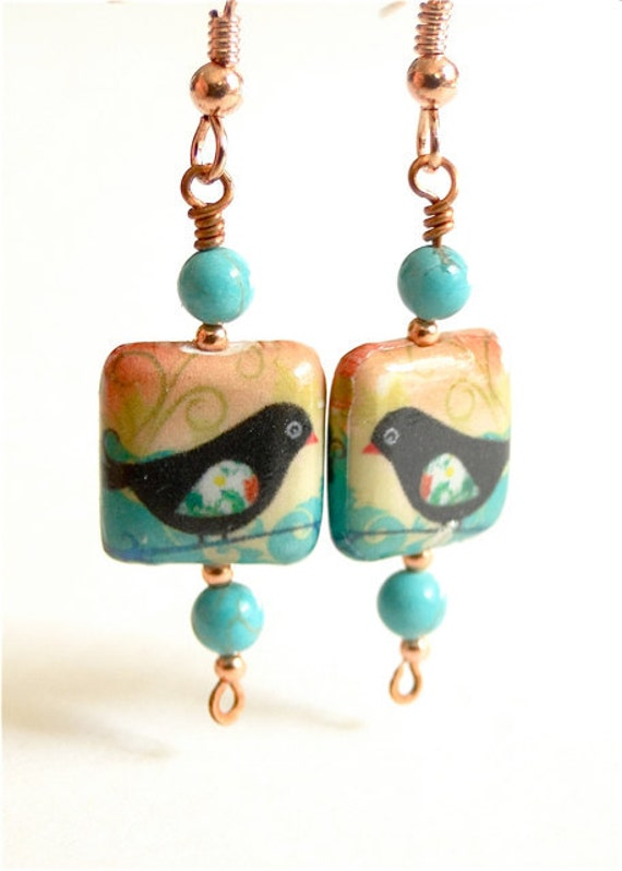 Blackbird earrings paper mache with turquoise stone beads for How to make paper mache jewelry