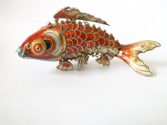 Vintage koi fish pendant orange enamel by for Blue and orange koi fish