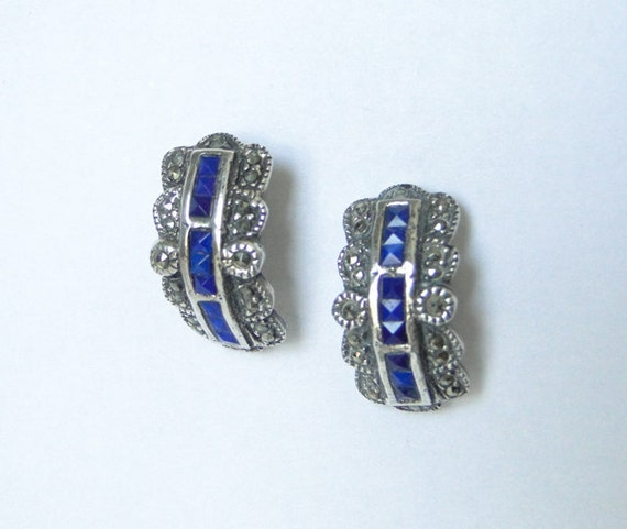 Art Deco Marcasite earrings. Cobalt blue stones. Sterling silver. vintage