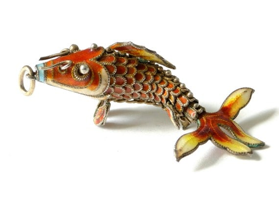 Chinese koi fish pendant vintage silver articulated enamel for Silver koi fish