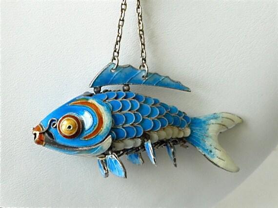 Chinese Koi fish pendant. Blue enamel. Articulated, wiggle, Carp Silver.