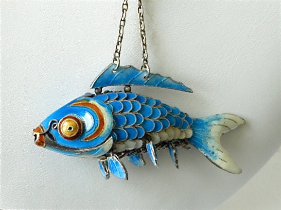 Chinese koi fish pendant blue enamel articulated wiggle for Koi fish beads