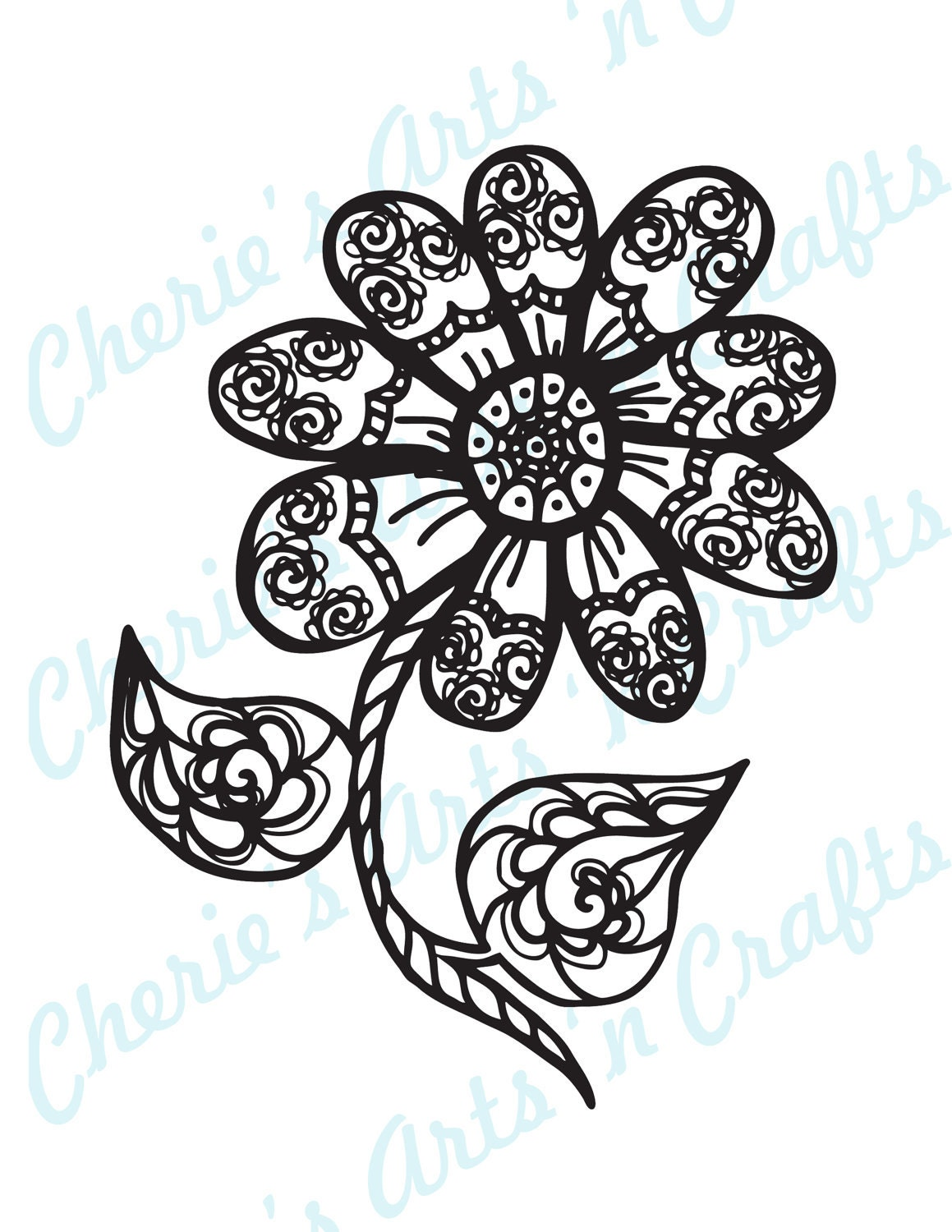 Zentangle Flower Coloring Pages Zentangle Flowers