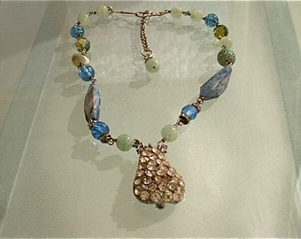 Oh What A Pear Necklace - Vintage Components Reworked,Re-imagined,Repurposed