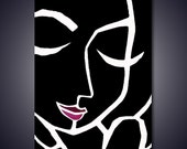 Abstract painting Modern pop Art Contemporary black and white portrait face decor by Fidostudio - In Theory