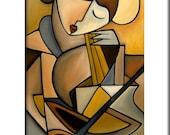 Espressivo - Original Abstract painting Modern pop Art print Contemporary colorful portrait face music cello decor by Fidostudio