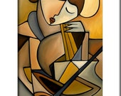 Abstract music painting Modern pop Art print Contemporary colorful violin face decor by Fidostudio