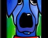 Abstract painting Modern pop Art print Contemporary colorful blue dog portrait face decor by Fidostudio - Ignored