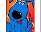 Abstract blue dog pop Art print Contemporary colorful portrait decor by Fidostudio