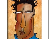 Abstract man painting pop Art print Contemporary colorful portrait face business decor by Fidostudio