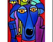 My Best Friend - Original Abstract painting Modern pop Art print Contemporary colorful portrait face blue dog city decor by Fidostudio