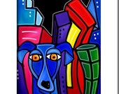Abstract painting Modern pop Art print Contemporary colorful portrait face decor by Fidostudio - City Dog