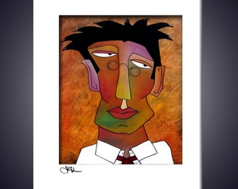 The Boss - Original Abstract painting Modern pop Art print Contemporary colorful portrait face decor by Fidostudio