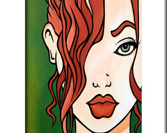 Abstract painting Modern pop Art print Contemporary colorful portrait face comic book decor by Fidostudio