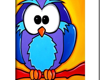 Abstract painting Modern pop Art print Contemporary blue owl decor by Fidostudio - Who?