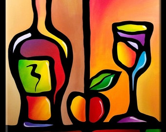 Tasty - Original Abstract painting Modern pop Art Contemporary large colorful cubist wine by Fidostudio