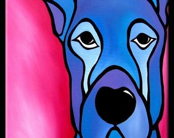 Original Abstract painting Modern pop Art Contemporary large Portrait blue dog FACE by Fidostudio -Stay