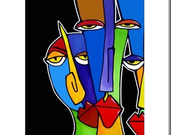 The Boys - Original Abstract painting Modern pop Art print Contemporary colorful portrait faces decor by Fidostudio