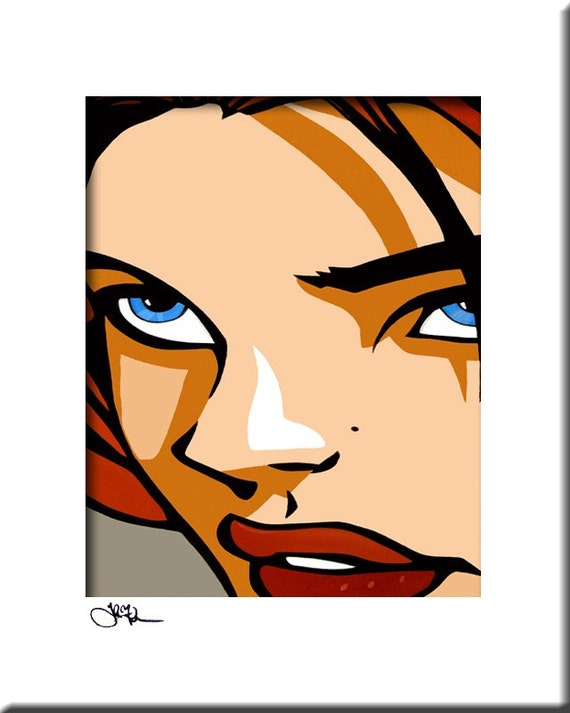 Modern pop Art print Contemporary large cubist abstract painting colorful portrait face decor by Fidostudio