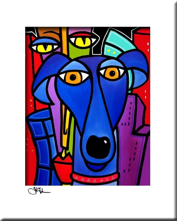My Best Friend - Original Abstract painting Modern pop Art print Contemporary colorful portrait face blue dog city decor by Fidostudio