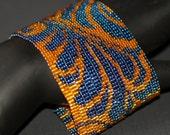 Damask ... Bracelet Cuff . Dramatic . Blue . Orange . Metallic . Bold . Fabric Inspired . Original Design . Beadwoven . Peyote
