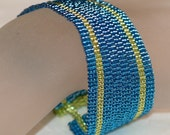 Tequila and Blue Curacao ... Bracelet Cuff . Metallic . Bright . Stripes . Turquoise . Lemon Lime