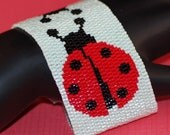 Twin Ladybugs ... Peyote Bracelet . Beadwoven Cuff . Bugs . Insects . Red . Black . Polka Dots . Whimsical . Cute . Good Luck . Spring