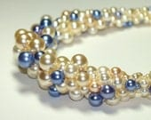Luscious ... Bead Crochet Necklace . Faux Pearls . Cream . Pale Peach . Off White . Periwinkle Blue . Silver Tone Clasp . Chunky . Bride
