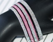 Licorice Stripe ... Peyote Bracelet . Dove Gray . Hot Pink . Jet Black . Narrow . Beadwork Jewelry . Handmade Bracelet . Striped Bracelet