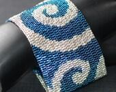 Silver Waves in a Deep Blue Sea ... Bracelet . Cuff . Peyote . Beadwoven . Zircon . Galvanized . Metallic . Striking . Bold . Elegant