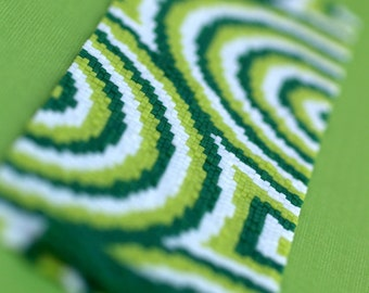 Concentric ... Peyote Bracelet . Beadwoven Cuff . Super Wide . Kelly . Lime . Green . White . Circles . Geometric . Op Art . Abstract