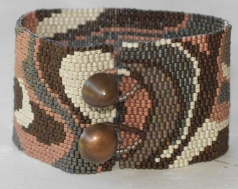 Modern Metals ... Peyote Bracelet . Beadwoven Cuff . Wide . Metallic . Matte . Bronze. Copper . Steel . Pewter . Platinum . Brass . Abstract