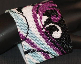 Fanciful ... Bracelet Cuff . Beadwoven . Peyote . Wide . Fuchsia . Pale Aqua . Snow White . Jet Black  . Feminine . Flourish
