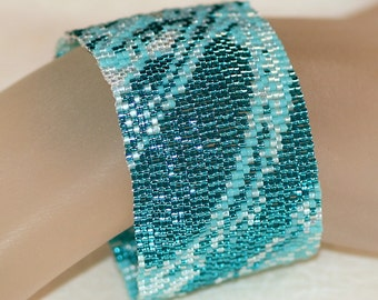 Seafoam Fabric ... Turquoise Jewelry Aqua Peyote Bracelet Beadwoven Cuff Handmade Jewelry Beadwork Blue Bracelet Beadwork Woman Gift