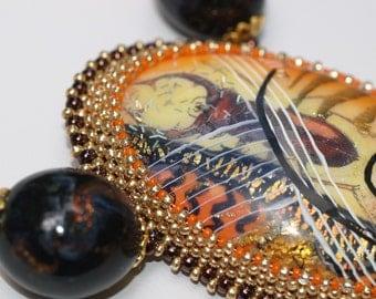 Lucinda ... Necklace . Bold . Artisan . Beadwoven . Unique . Beetle . Entomology . Polymer Clay Focal . Bright Gold . Purple . Orange