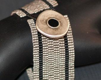 Iron Ore ... Peyote Bracelet . Beadwoven Cuff . Matte Steel . Black . Metallic . Unisex . Masculine . Simple . Modern . Stripes