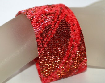 Crimson Fabric ... Peyote Cuff Bracelet Shades of Red Monochromatic Woman Gift Mothers Day Cranberry Scarlet July Birthday Birthstone Bright
