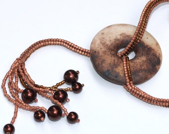 Lalita ... Necklace . Beadwoven . Smoke Fired Clay . Donut Focal . Artisan . OOAK . Playful . Faux Pearls . Unique . Earthy